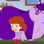 A preteen white girl with red hair sits on a couch next to a massive purple cat and oversized mosquito.