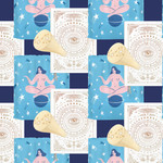 pattern of a white astrology planner, blue shower curtain with a nude figure sitting atop a planet, and a gold signet ring