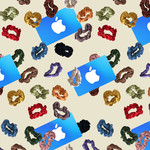 pattern of various colored scrunchies and blue Apple gift cards