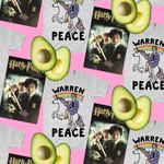 "pattern of a grey t-shirt with an illustration of Elizabeth Warren sitting on a unicorn with the words ""Warren Peace,"" a sliced avocado, and a VHS cover of Harry Potter and the Chamber of Secrets"