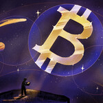 Illustration of Bitcoin symbol positioned between stars and planets like a constellation in a purple night sky