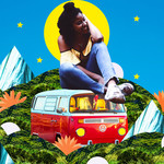 a collage of a Black woman sitting on top of a van and surrounded by flowers