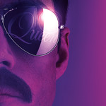 """Extreme close-up of Rami Malek playing Freddie Mercury against a gradient purple background. He has a mustache and mirrored sunglasses that say """"Queen"""" on the right lens"""