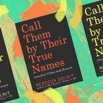 three Black book covers on a colorful blue and yellow background