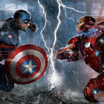 Captain America in a blue suit and Iron Man in red in battle poses as they face off against each other