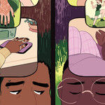 crop of a comic illustration split-screen featuring a nonbinary East Asian person with hand braces and a fat Black woman wearing glasses