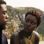 Chadwick Boseman as T'Challa and Lupita Nyong'o as Nakia in Black Panther