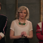 Ella Balinska as Jane Kano (left), Elizabeth Banks as Susan Bosley, and Kristen Stewart as Sabina Wilson in Charlie's Angels. All three women stand next to each other.