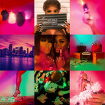 City on Lock, an album cover, features a number of different squares in purple and pink full of portraits of Black women and scenes of Miami