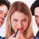 three white people, Colin Firth, Renée Zellweger, and Hugh Grant, pose playfully next each other in promo photo for Bridget Jones's Diary