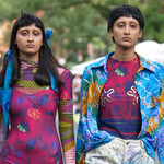 two Indian models walk a street runway during the Collina Strada Spring/Summer 2020 Fashion Week