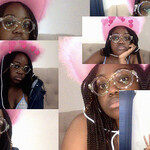 a collage of Olivia McKayla Ross, a Black person with shoulder-length braids, posing in a pink cowboy hat in front of a computer camera