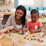 a Black woman daycare provider sits at a table with four children