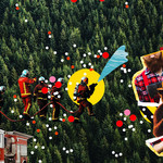 a collage of Smokey the Bear and firefighters in red suits in front of green trees
