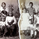 four Indigenous children at the Carlisle Indian School sit beside each other, showing how they were assimilated into European culture