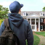 a book cover of a white man with a blue hat and a brown book bag looking at a white fraternity house