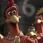 Ginger, an animated chicken wearing a beanie, in Chicken Run