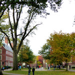 Landscape shot of Harvard University campus and students