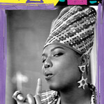 a purple, pink, and yellow mixed-media portrait of Queen Latifah, a fat Black woman, with painted strokes and symbols featuring a black and white photo by Al Pereira. She wears a tall weaved headdress, matching jacket, and her finger by her mouth