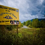a placard in British Columbia, Canada, warns Indigenous women and girls about hitchhiking along the Trail of Tears