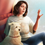 I Want to Be Where the Normal People book cover features an illustration of Rachel Bloom, a white woman with short, brown hair looking longingly out the window with a small dog