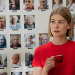Rosamund Pike, a white woman with short blond hair, as Martha in I Care A Lot