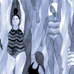 Girls swimming illustration by Eleni Kalorkoti