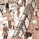 illustration of people shopping in a grocery store across from people farming