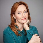 photo of author J.K. Rowling, a white, red-haired woman in a turquoise top