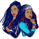 an illustration of two Black women standing side by side