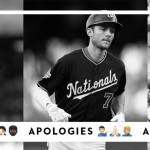 Josh Hader, Sean Newcomb, and Trea Turner with strikes, apologies, and actions underneath them