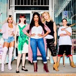 Karreuche Tran as Virginia, Carrie Preston as Polly, Niecy Nash as Desna Simms, Jenn Lyon as Jennifer, and Judy Reyes as Quiet Ann in Claws