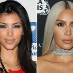 Kim Kardashian, a light-skinned Armenian woman, poses for two photos in 2006 and 2017, one in which she has long black hair and one in which she has platinum blond hair