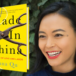 Made in China, a yellow book cover that features a photo of rusty scissors, is cropped against a photo of Anna Qu, a thin, Chinese woman with a black bob