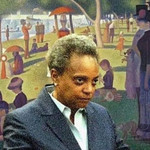 a meme of Lori Lightfoot, a Black woman with short gray hair, against the backdrop of a famous painting