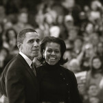 Barack and Michelle Obama exit the stage.