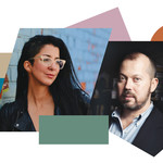 collage image of Porochista Khakpour and Alexander Chee surrounded by abstract colorful shapes