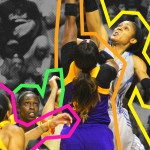 Odyssey Sims and Maya Moore jump ball in game 5 of the 2017 WNBA Finals