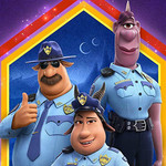 "Three animated and purple figures wearing police uniforms stand against a colorful background with the word ""Onward"" displayed prominently"