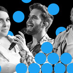 A grayscale collage of Beanie Feldstein, Ben Platt and Virgil Abloh. Blue Twitter dots spot the page.