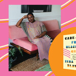 A Black woman wearing patterned dress on a pink couch, next to the portrait is the Carefree Black Girls book cover, it has a tan background and pink swirling lines
