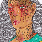 illustration of woman with white curly hair and blood splattered eyes