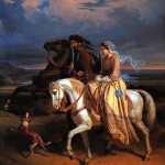 A man and a woman ride atop horses side by side as a dog gallops in front of them