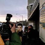 Admitted 'Preppie Killer' Robert Chambers (center), a white man, walks out of Auburn Prison February 14, 2003 in Auburn, New York.