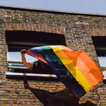 A person waves a Pride flag out of a window.