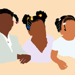 Illustration of three young black girls with braids in their hair and no faces, illustration floats on a peach background.