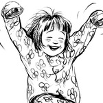 an illustration of Ramona Quimby, an adolescent girl jumping in the air and smiling brightly