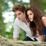 Robert Pattinson, a pale white man wearing a blue shirt, crouches beside Kristen Stewart, a pale white, thin woman with shoulder-length brown hair, on a rock in The Twilight Saga: Breaking Dawn – Part 2