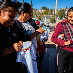 Bordadoras, Mexican women embroiders, stand together on the street of Nogales, Mexico