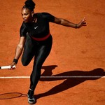 Serena Williams wearing an all-black catsuit